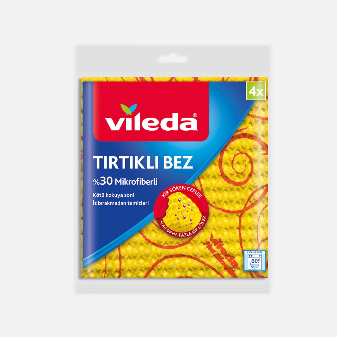 Vileda %30 Mikrofiberli Tırtıklı Bez 4'lü Paket