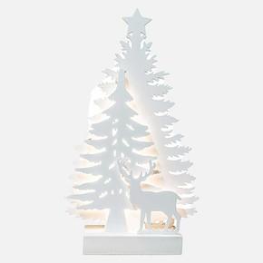Yılbaşı Led Işıklı Beyaz Çam Ağacı ve Geyik