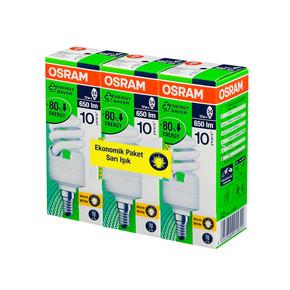 3'lü Eko Paket 12W Mini Spiral Enerji Tasarruflu Ampul Sarı