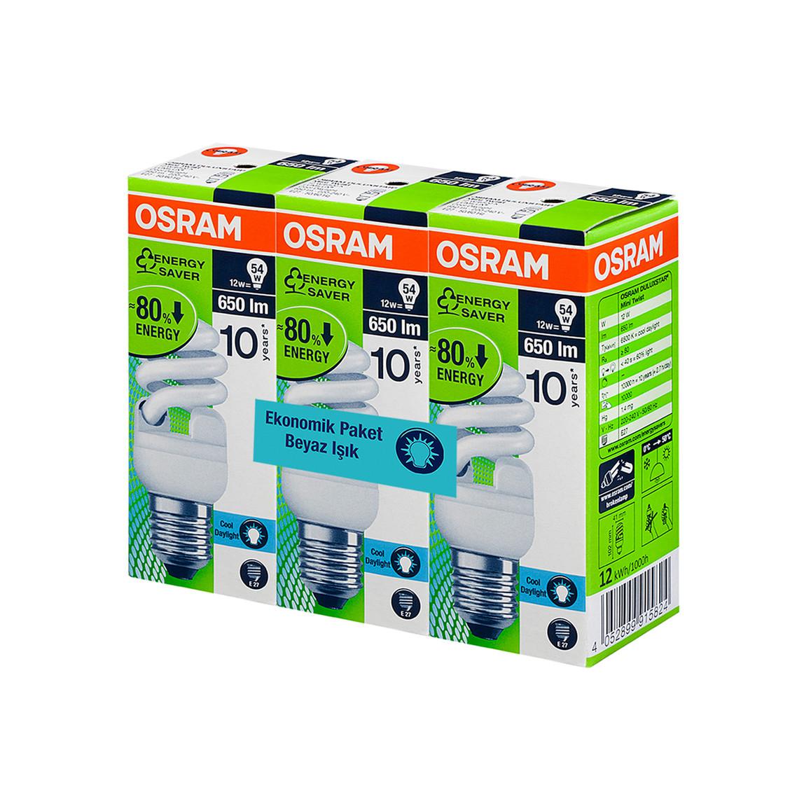 Osram 3'Lü 12W E27-Duy Enerji Tasarruflu Ampul Beyaz Işık