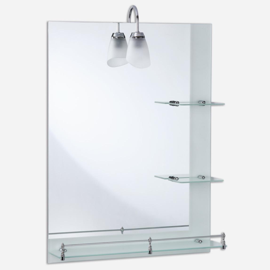 Dikdörgen Aplikli Modül Raflı Etejerli Ayna
