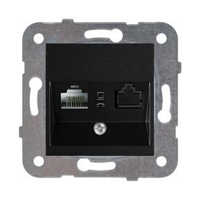Novella Data+Nüm Telefon Prizi Cat5+Cat3 Siyah Mek+Düğme Kapak