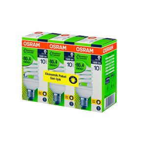 Osram 3'Lü 23W Mini Spiral Enerji Tasarruflu Ampul Sarı Işık