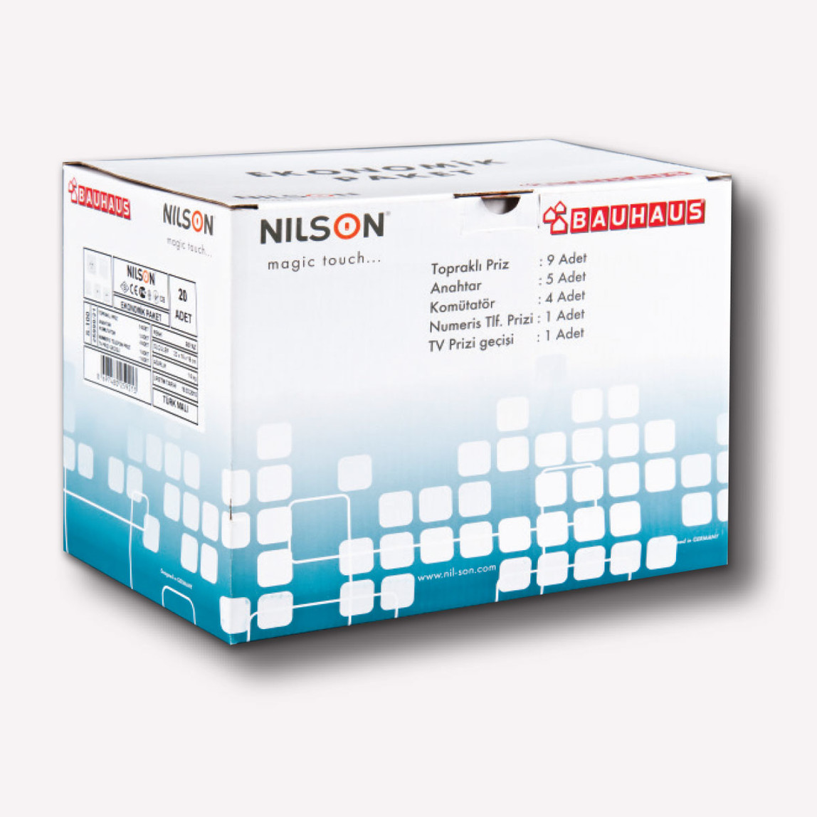 Nilson S 100 Anahtar Priz Seti Beyaz