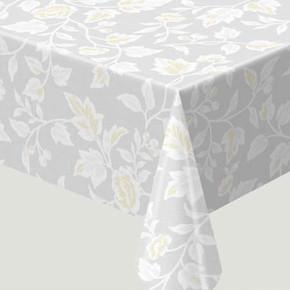 Opak Masa Örtüsü Çiçekli Beyaz