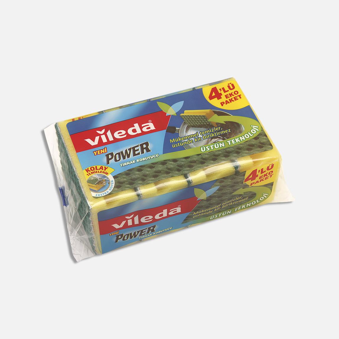 Vileda Power Oluklu Bulaşıklık Süngeri 4'lü Paket