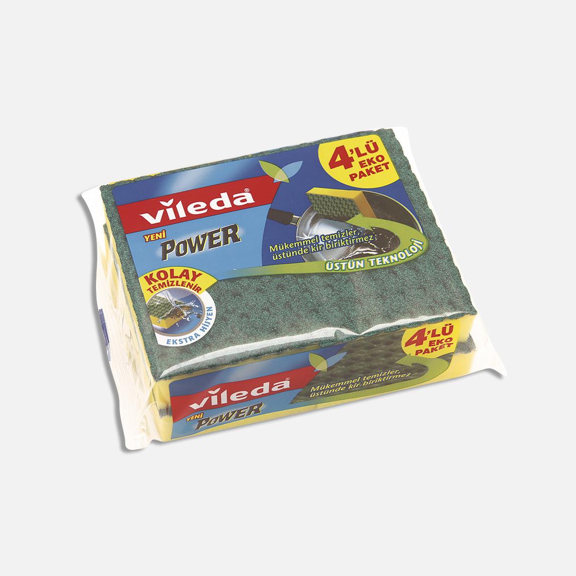 Vileda Power Düz Bulaşıklık Süngeri 4'lü Paket