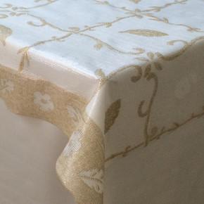 PVC Masa Örtüsü Parlak Yaprak Bej-Beyaz