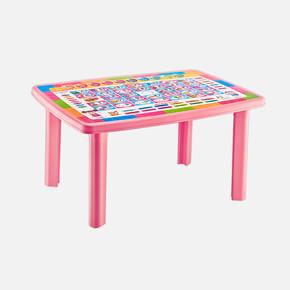 Alfabe Desenli Çocuk Masası Pembe