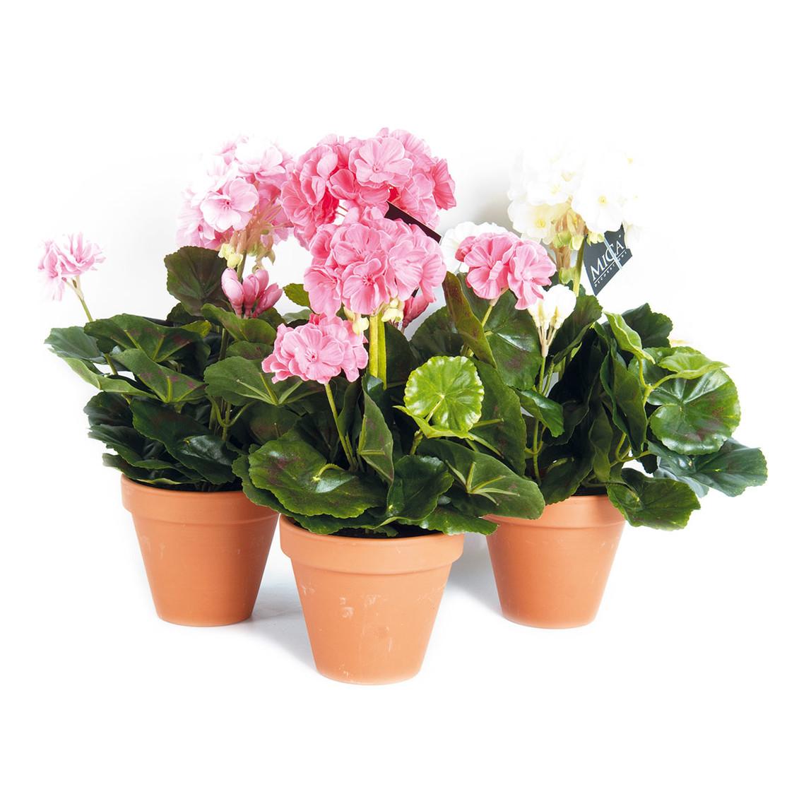 MICA Saksıda Sardunya Yapay Çiçek Somon