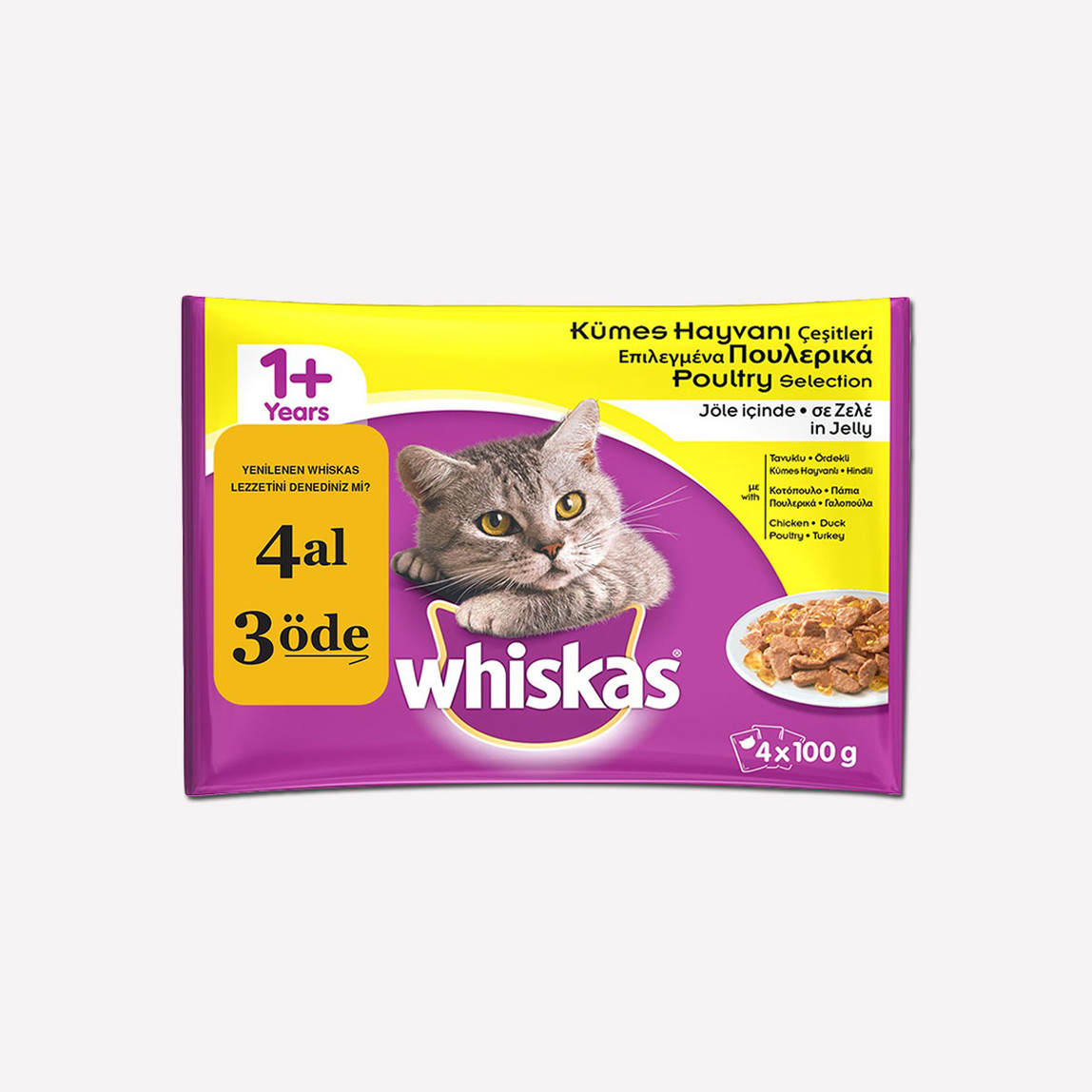 Whiskas Kümes Hayvanlı Multipack Yaş Kedi Maması 4'lü Paket