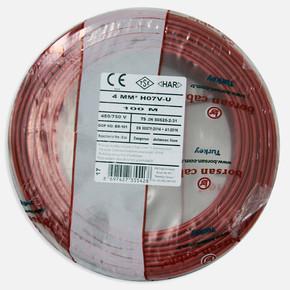 Borsan 4 mm Nya Kablo Kırmızı 100 Mt