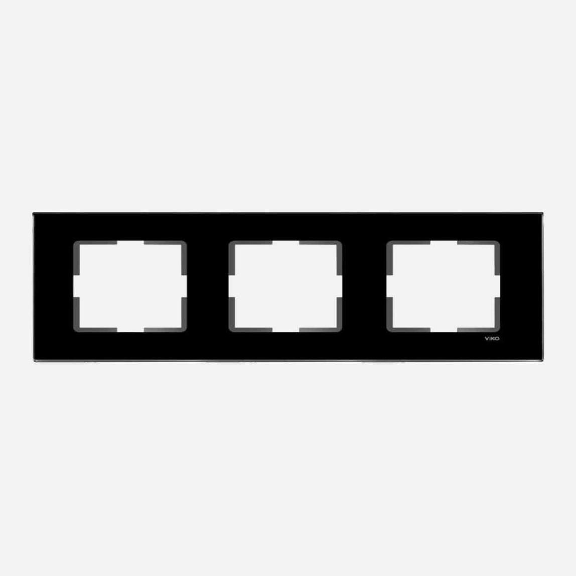 Novella Cam Düz Siyah Üçlü Çerçeve Vk