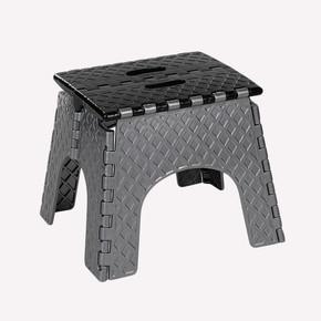Katlanır Plastik Tabure Merdiven Küçük Siyah-Gri