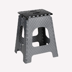 Katlanır Plastik Tabure Merdiven Büyük Siyah-Gri