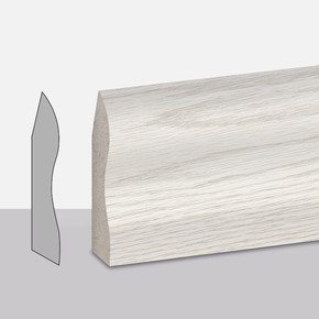Premium Beyaz Meşe Süpürgelik 6 cm