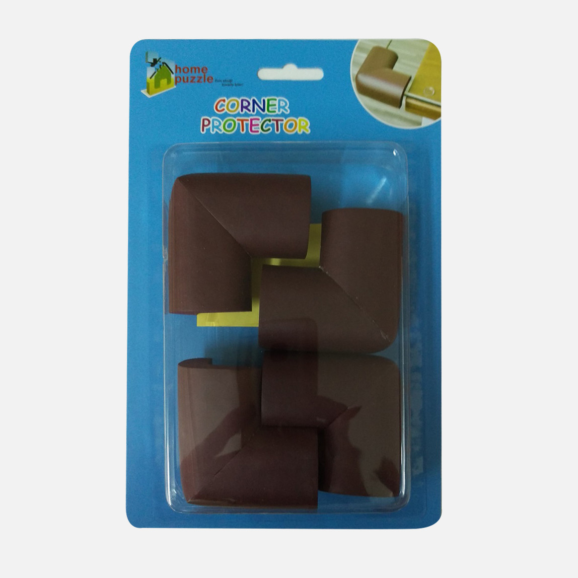 Home Puzzle 4'lü Soft Köşe Koruyucu Kahverengi