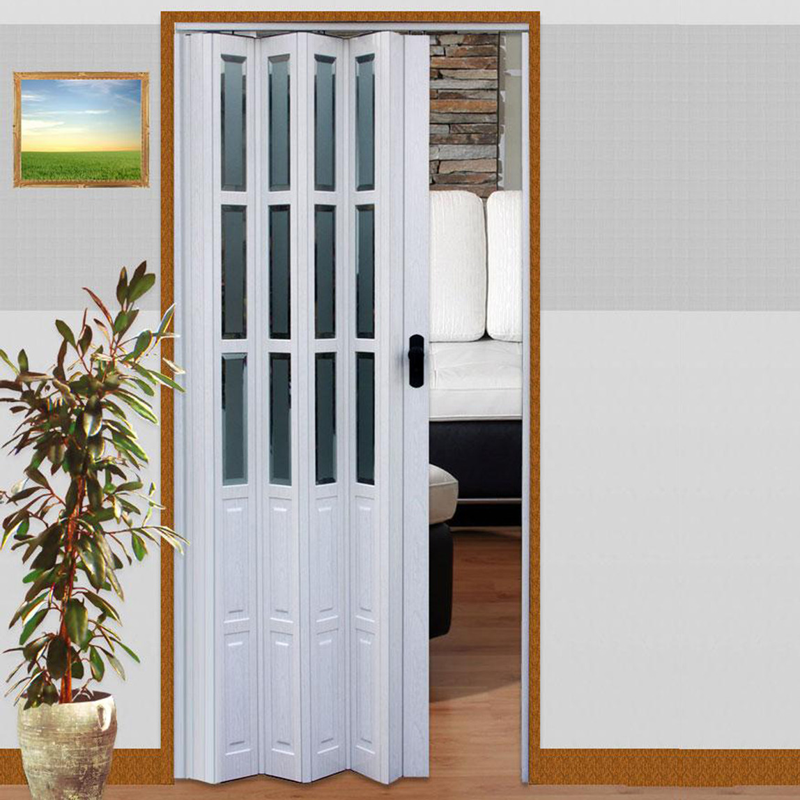 Akordiyon Kapı - Camlı Beyaz