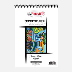 10 172  Painting Mix Blok 170gr 25x35cm 12 Yaprak