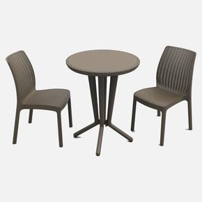 Keter Bistro Masa ve Sandalye Seti Kahve