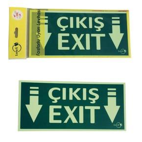 Exit-Çıkış Yazılı Fosforlu Yön Levhası