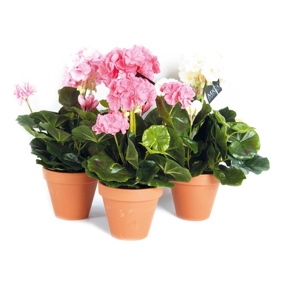 MICA Saksıda Sardunya Yapay Çiçek Koyu Pembe