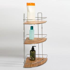 3 Katlı Krom/Bambu Tel Raf