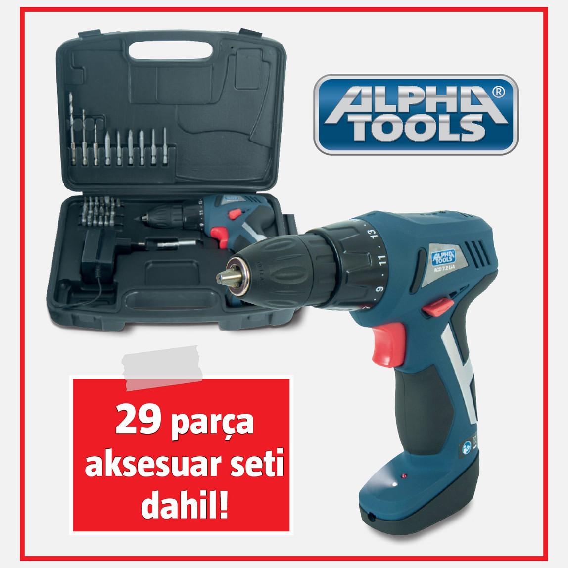 Alpha Tools Acd 7,2Li Şarjlı Vidalama