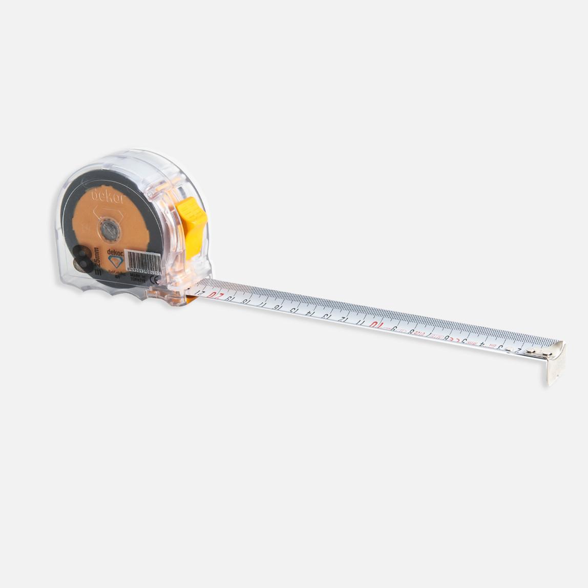 Dekor 8Mx25 mm Şerit Metre Şeffaf