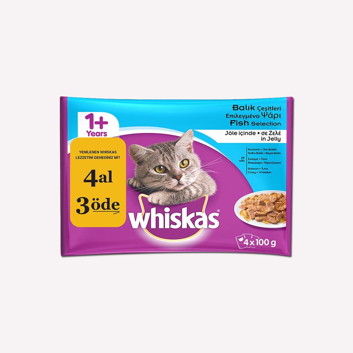 Whiskas Balıklı Multipack Yaş Kedi Maması 4'lü Paket