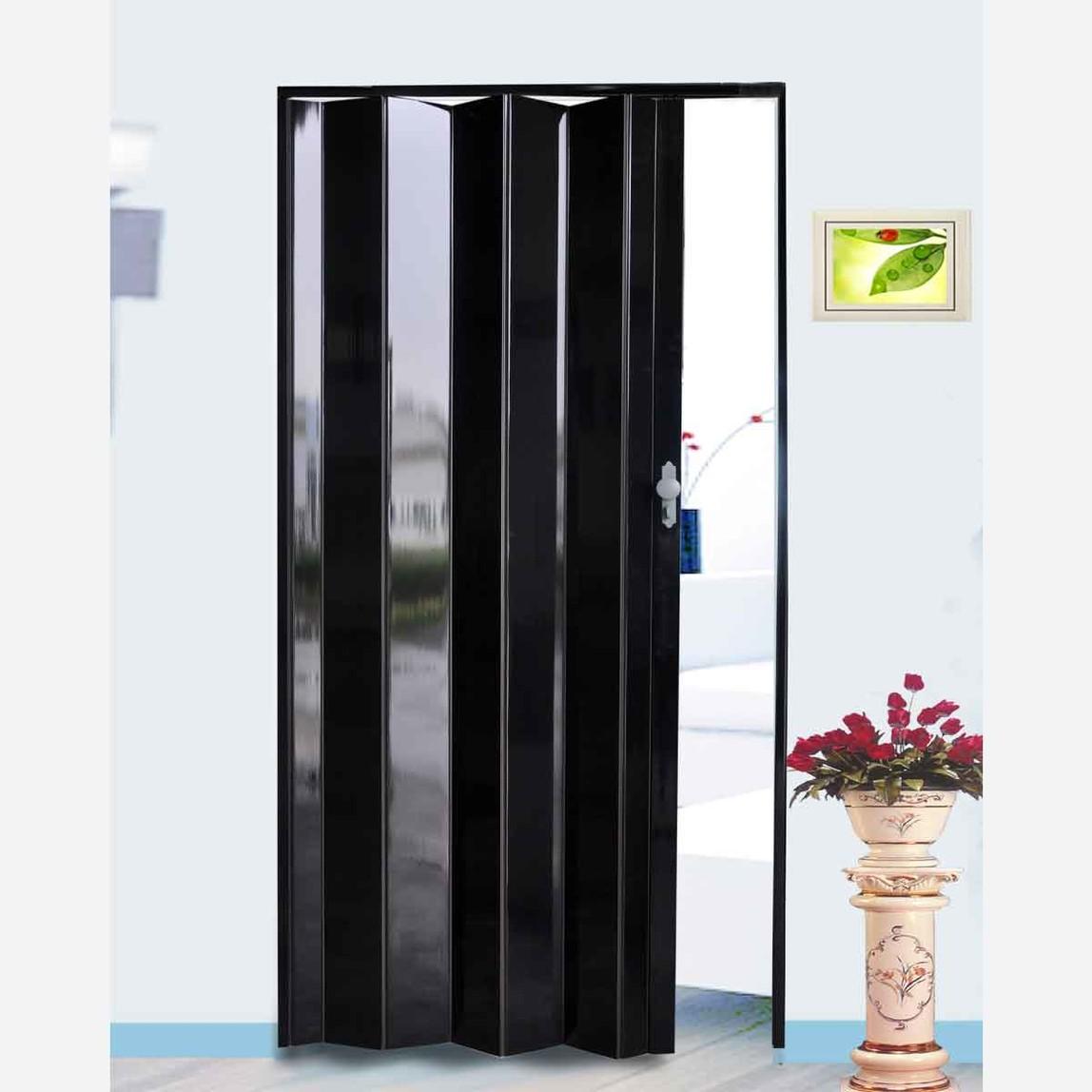 Highgloss Akordiyon Kapı Siyah Kilitli Kol