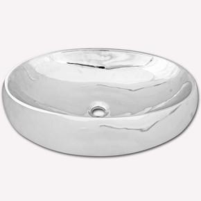 Elips Tezgah Üstü Lavabo Gümüş