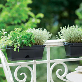 Elho Green Basics Balkon Saksısı Siyah 30 cm