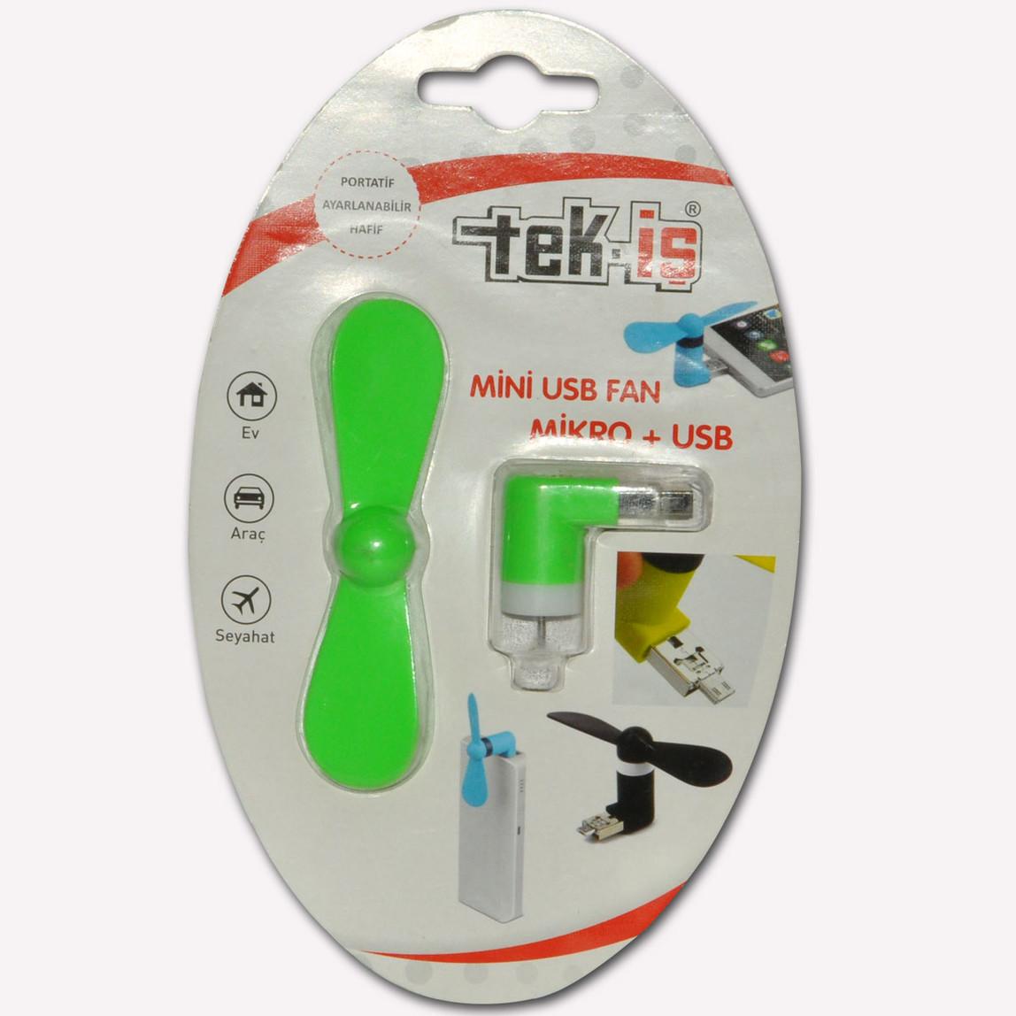 Tek-iş Mini Usb Fan Micro+Usb Değişik Renklerde