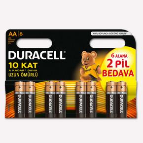 Duracell 8'li AA Kalem Pil