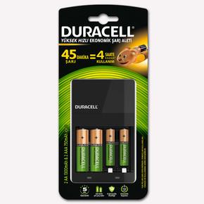 Duracell CEF 14 Pil Şarj Aleti + Şarj Edilebilir AA Kalem Pil 1300 mAh 2'li + Şarj Edilebilir AAA ince Pil 750 mAh 2'li Paket