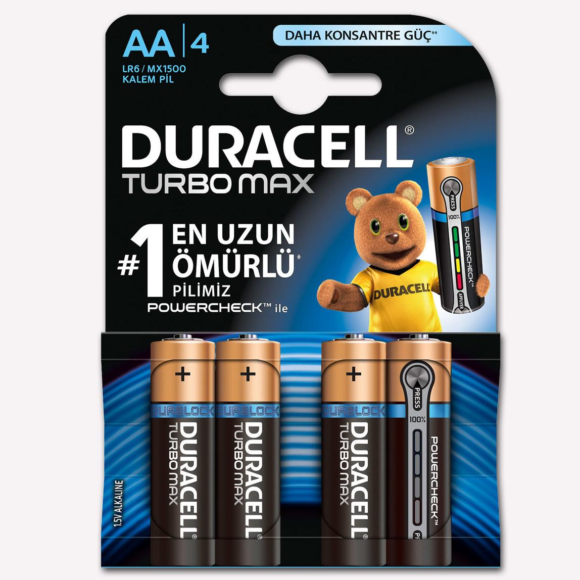 Duracell AA Kalem Pil Alkalin Turbo Max 4'lü Paket