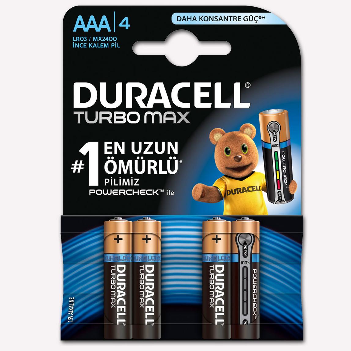 Duracell AAA Kalem Pil Alkalin Turbo Max 4'lü Paket