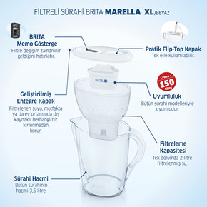 Brita Marella XL Filtreli Su Arıtmalı Sürahi Beyaz