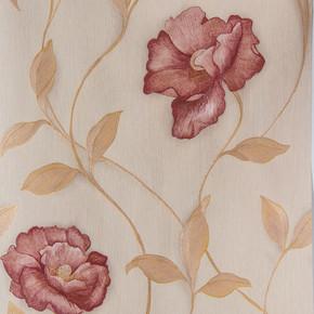 Büyük Bordo Çiçek Vinyl Duvar Kağıdı