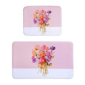Pink-Flower Memory Banyo Halısı 2' li