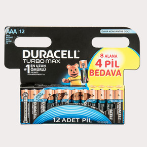 Duracell Turbo Max  Alkalin AAA İnce Kalem Pil (8+4) 12'li Paket