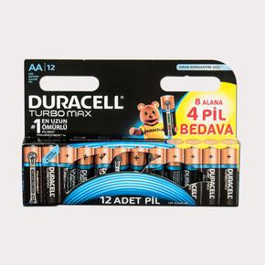 Duracell Turbo Max Alkalin AA İnce Kalem Pil (8+4) 12'li Paket