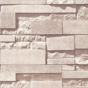 Desenli Taş - Bej Simli Duvar Kağıdı