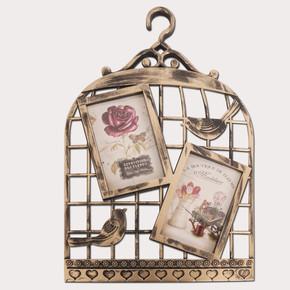 2'li Dekoratif Kuş Kafes Çerçeve Eskitme Krem