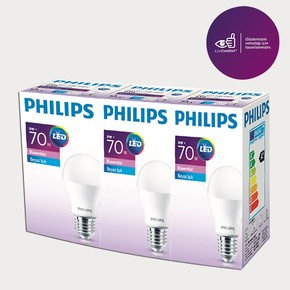 Philips Essential Led Ampul 9-70W Beyaz E27 Normal Duy 3'lü Paket