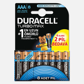 Duracell Turbomax ince Kalem Pil 8' li AAA
