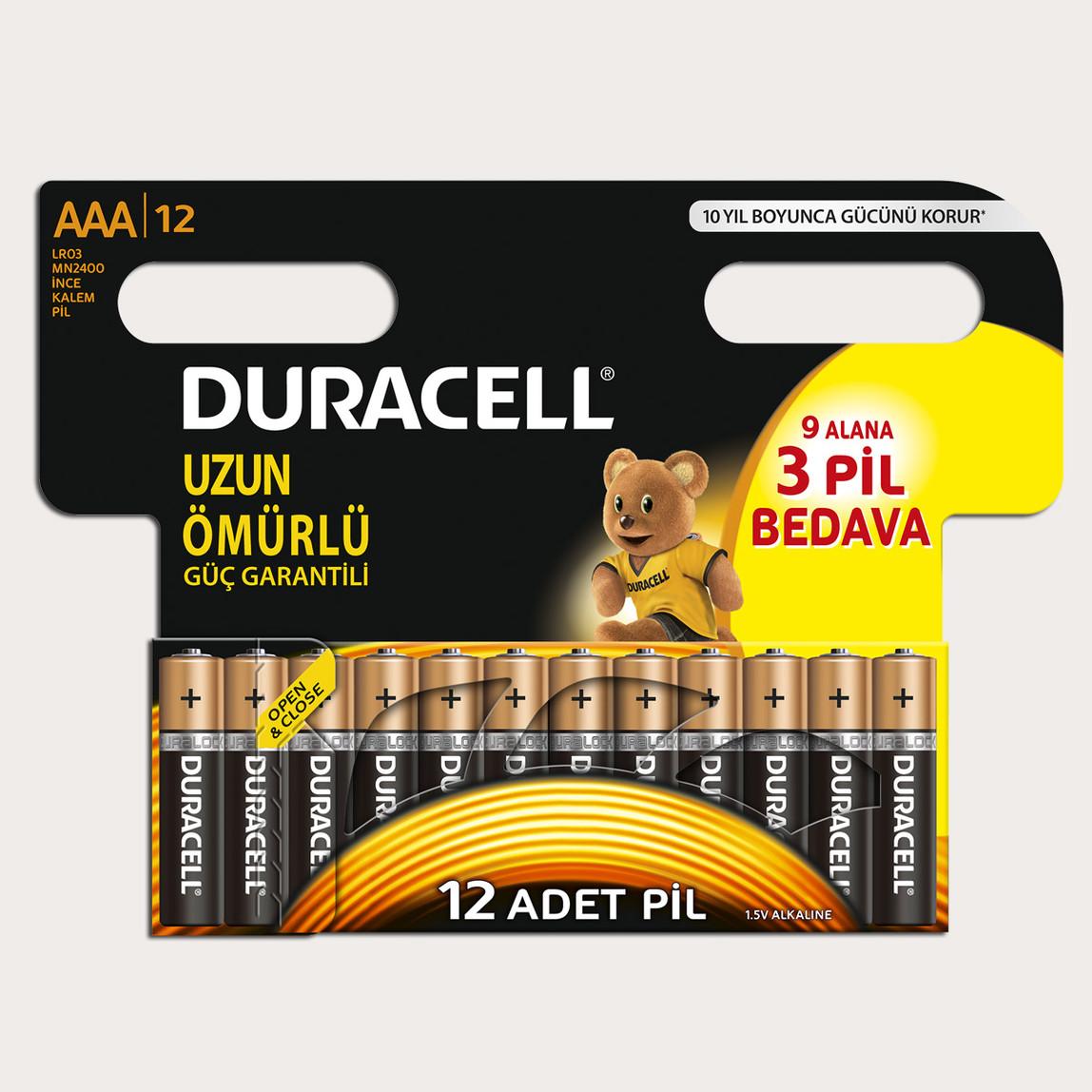 Duracell Basic İnce Kalem Pil 12'li AAA