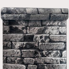 Eski Tuğla - Sıyah Simli Duvar Kağıdı