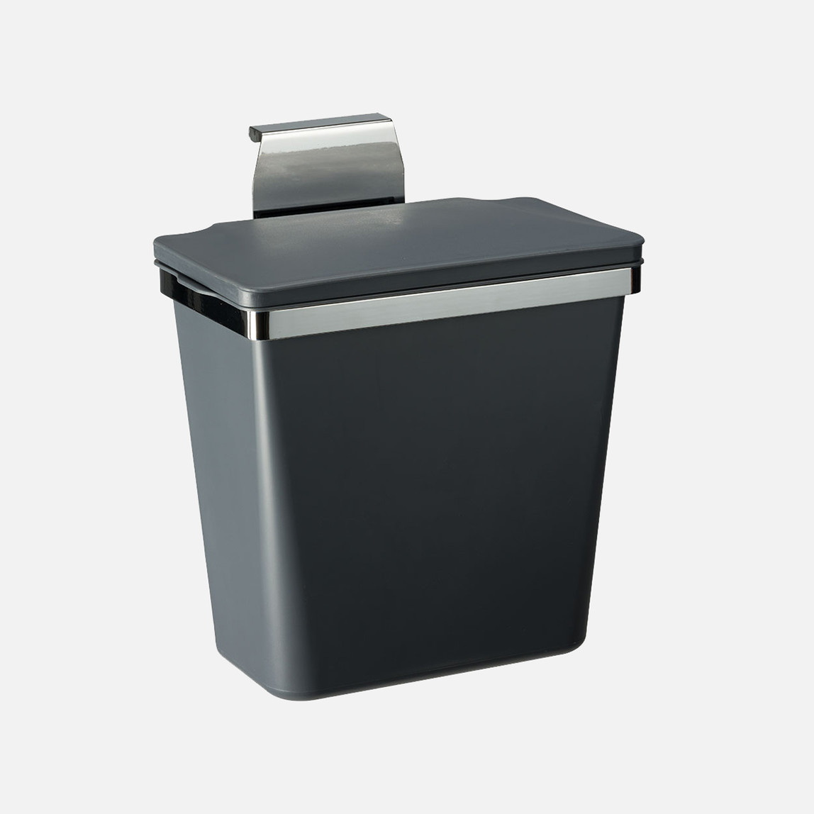 Metal Askılı  Plastik Çöp Kovası Antrasit 11Lt